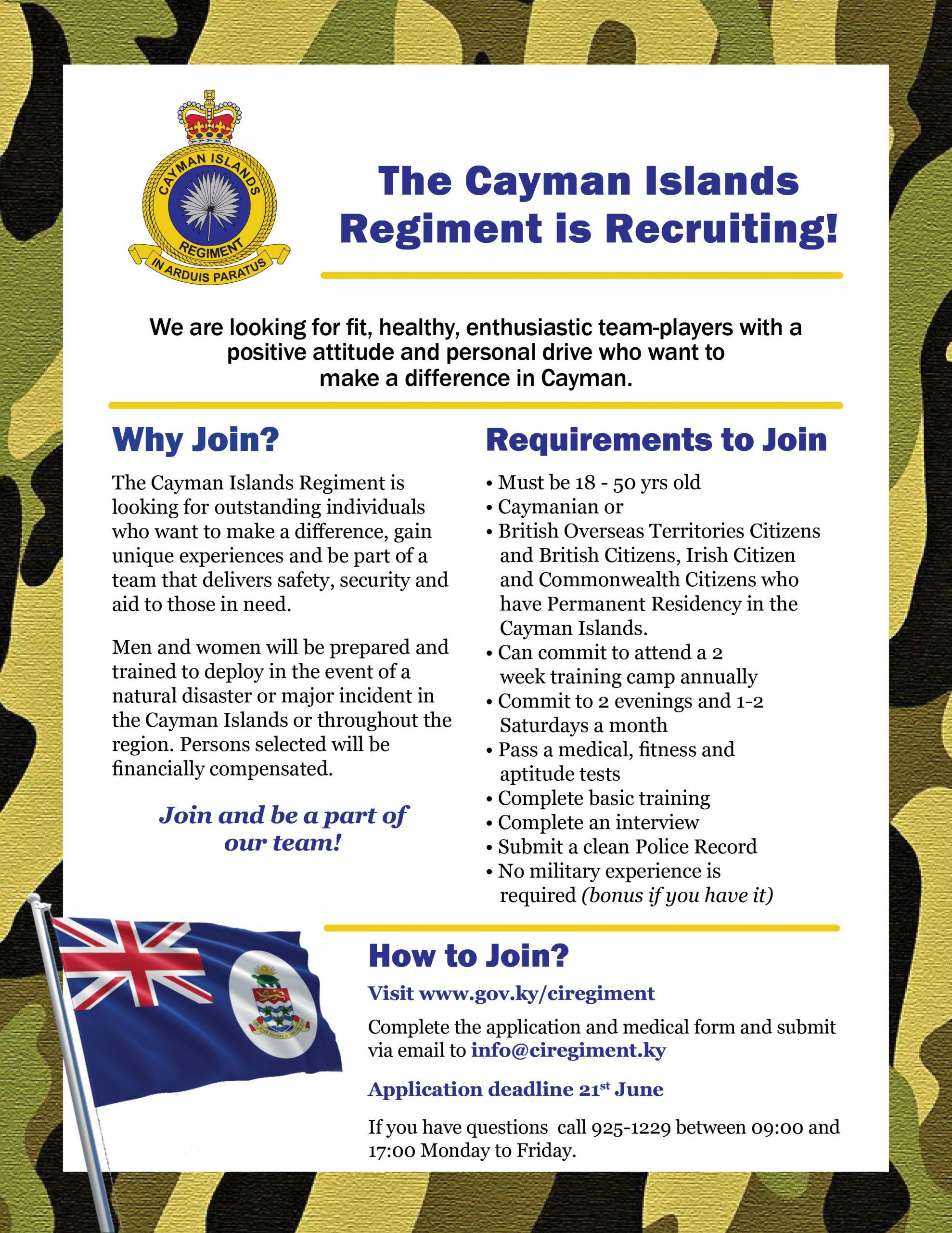 Cayman Islands Regiment Recruitment Flyer, June 2020